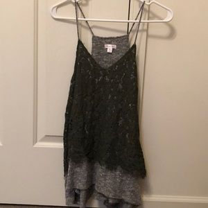 Xhilaration Green and Gray Lace Tank Top